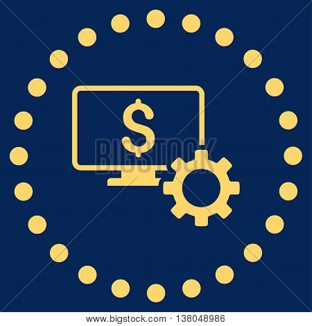 Financial Monitoring Options vector icon. Style is flat circled symbol, yellow color, rounded angles, blue background.