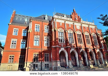 Krakow Poland - July 5 2016: Jagiellon University at end of school year Collegium Novum Krakow Poland