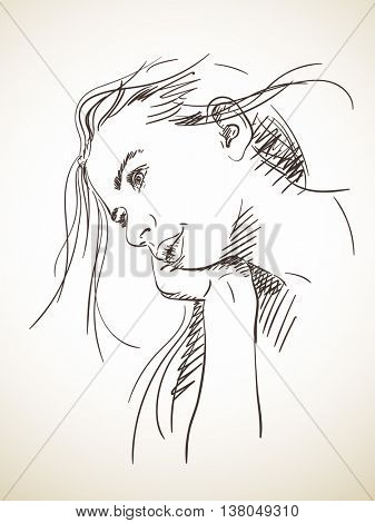 Beautiful young girl dreaming and propping up her head with her hand, Vector sketch, Hand drawn illustration