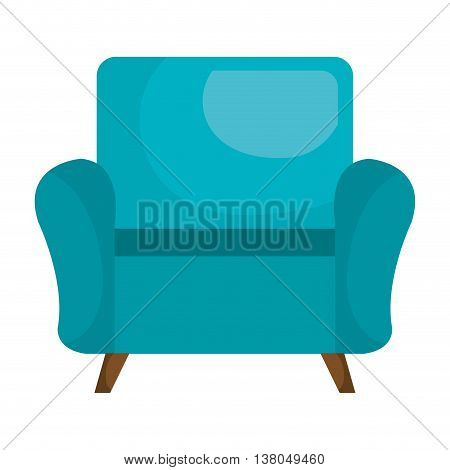 Blue sofa chair furniture isolated flat icon, vector illustration graphic.