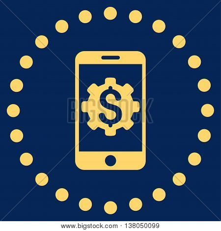 Mobile Bank Setup vector icon. Style is flat circled symbol, yellow color, rounded angles, blue background.