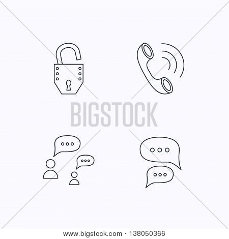 Phone call, chat speech bubbles and lock icons. Dialog linear sign. Flat linear icons on white background. Vector