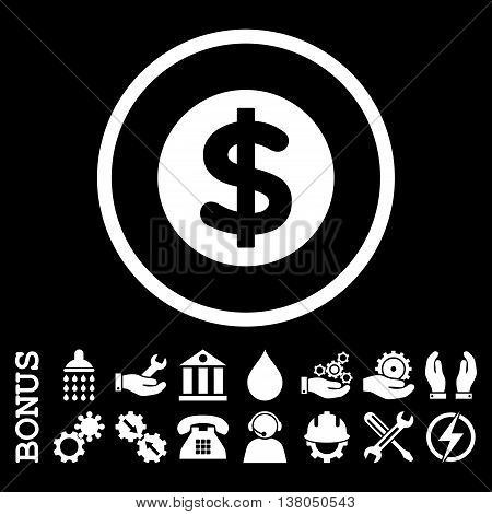Finance vector icon. Image style is a flat pictogram symbol inside a circle, white color, black background. Bonus images are included.
