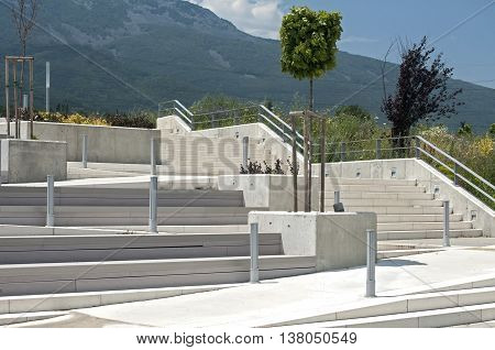 Stairs in park infrastructure system on mountain background