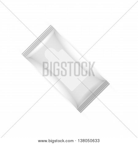 White wet wipes package with flap isolated on white background. Ready for your design. Packaging collection.