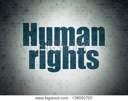 Political concept: Painted blue word Human Rights on Digital Data Paper background