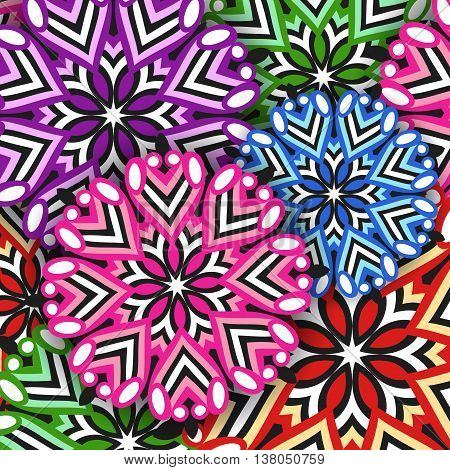 Vector background of colored mandalas. Abstract pattern with round ornaments