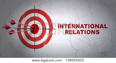 Success politics concept: arrows hitting the center of target, Red International Relations on wall background, 3D rendering