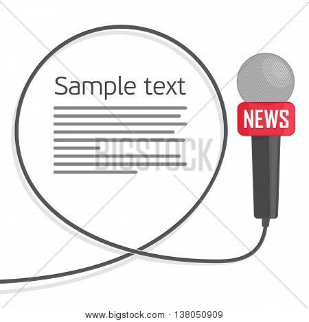 Microphone with a wire on a white background. Symbol breaking news on TV and radio. Journalism concept. Live news template. Vector illustration in a flat style.