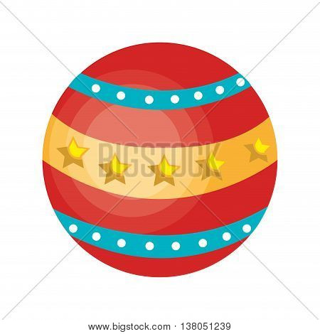 Circus ball colorful isolated flat icon, vector illustration graphic design.