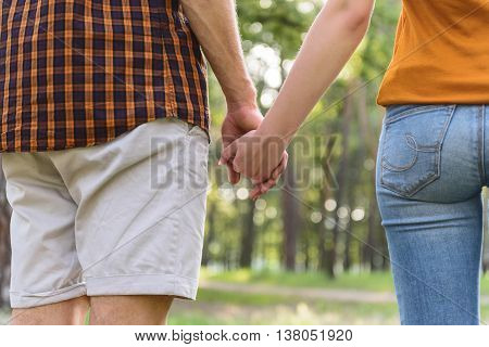 Close up of loving couple holding hands. They are walking in park. Focus on their back