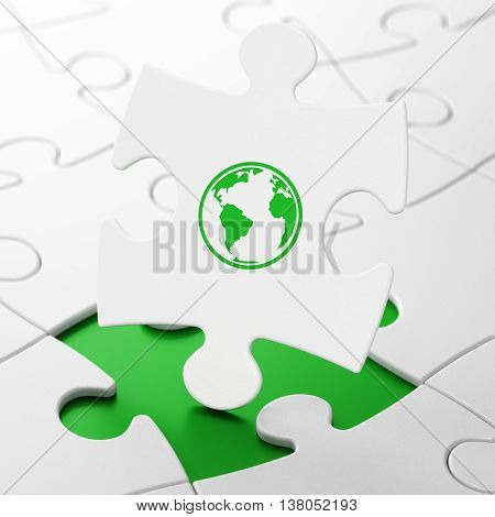 Studying concept: Globe on White puzzle pieces background, 3D rendering
