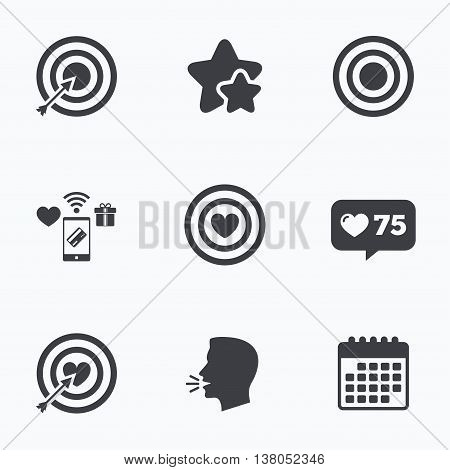 Target aim icons. Darts board with heart and arrow signs symbols. Flat talking head, calendar icons. Stars, like counter icons. Vector