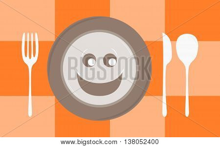 Plate with smile and set of cutlery on orange checked tablecloth. Vector illustration.