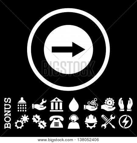 Right Rounded Arrow vector icon. Image style is a flat pictogram symbol inside a circle, white color, black background. Bonus images are included.