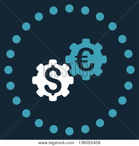 Financial Mechanics vector icon. Style is bicolor flat circled symbol, blue and white colors, rounded angles, dark blue background.