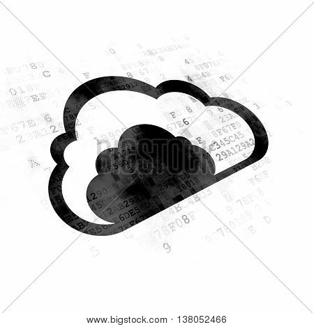 Cloud technology concept: Pixelated black Cloud icon on Digital background
