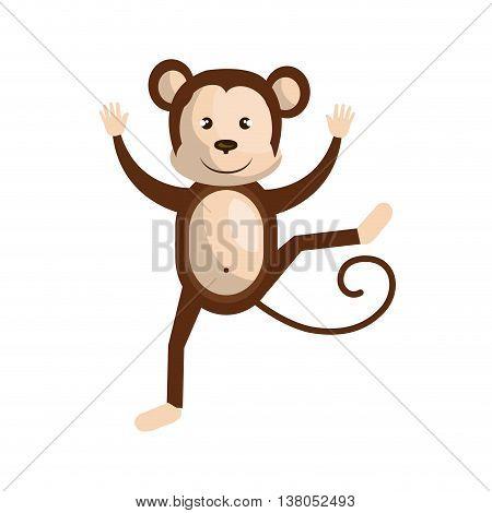 Circus monkey doing pirouettes cartoon design, vector illustration graphic.