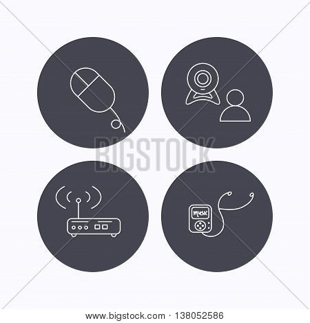 Wi-fi router, video chat and music player icons. PC mouse linear sign. Flat icons in circle buttons on white background. Vector