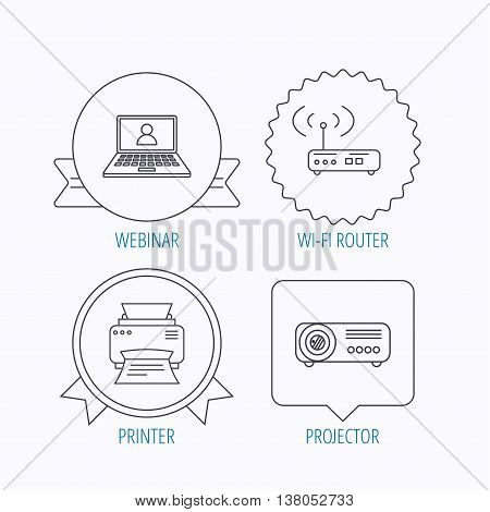 Printer, wi-fi router and projector icons. Webinar linear sign. Award medal, star label and speech bubble designs. Vector
