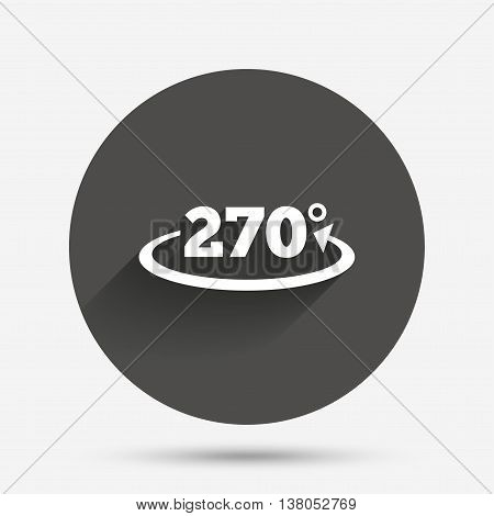 Angle 270 degrees sign icon. Geometry math symbol. Circle flat button with shadow. Vector