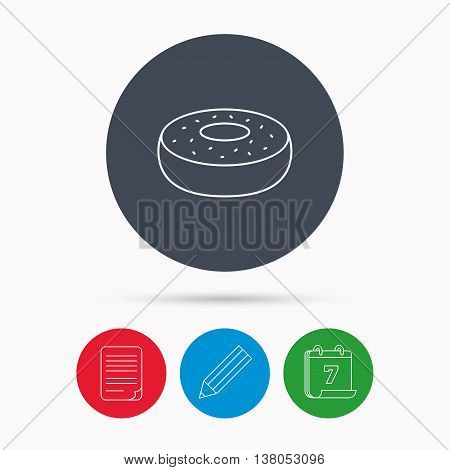 Donut icon. Sweet doughnuts sign. Breakfast dessert symbol. Calendar, pencil or edit and document file signs. Vector