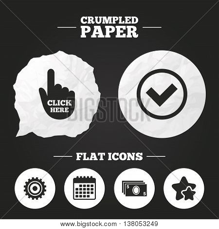 Crumpled paper speech bubble. ATM cash machine withdrawal icons. Click here, check PIN number, processing and cash withdrawal symbols. Paper button. Vector