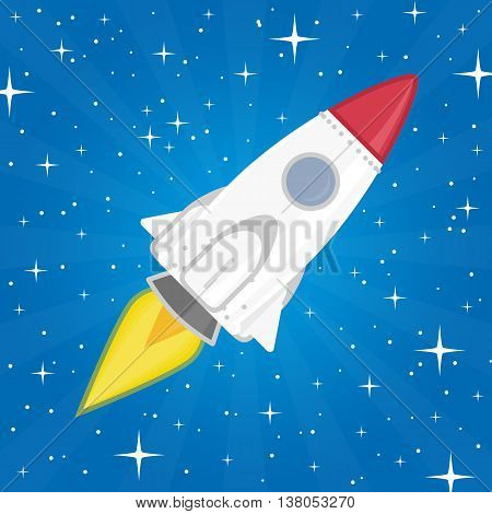 Vector illustration of a rocket in space against the background of stars. Beautiful spaceship flying among the stars. Project start up - launch concept in a flat style.