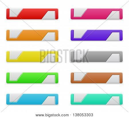 Set of colored rectangle plastic web buttons with grey inserts