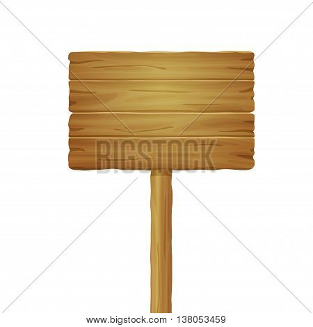 Vector illustration of wooden board isolated on white background