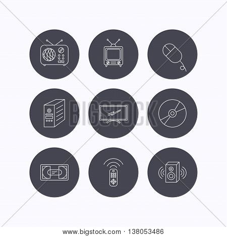 Retro TV, radio and DVD disc icons. PC mouse, VHS cassette and sound speaker linear signs. Flat icons in circle buttons on white background. Vector