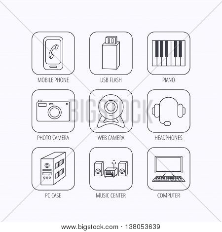 Photo camera, headphones and Usb flash icons. PC case, computer with monitor and web camera linear signs. Piano icons. Flat linear icons in squares on white background. Vector