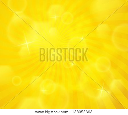 Vector abstract illustration with rays. Sunshine yellow background with bokeh