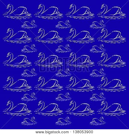 Large and small swans. Background and pattern of white silhouette of swans on a blue background.