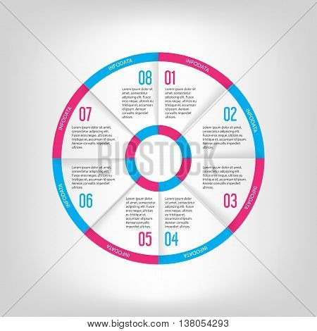 Infographic circle banner. Template for graph report presentation data visualisation cycling diagram round chart number options web design. 8 steps vector background purple and blue