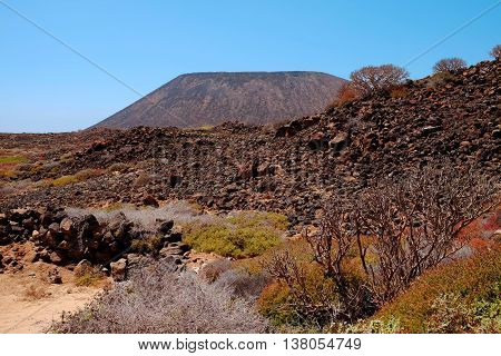 View on the mountain on the Canary island Lobos in Spain.