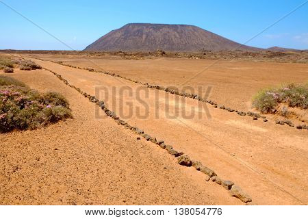 Landscape on the Canary island Lobos in Spain.