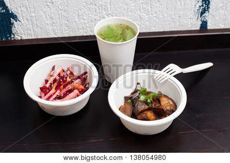 Vegetarian Fastfood - Plastic Plates With Salad