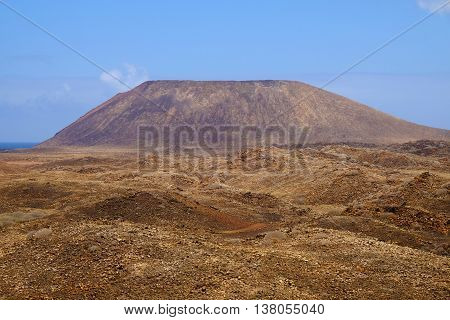View on the mountain on the Canary island Lobos Spain.