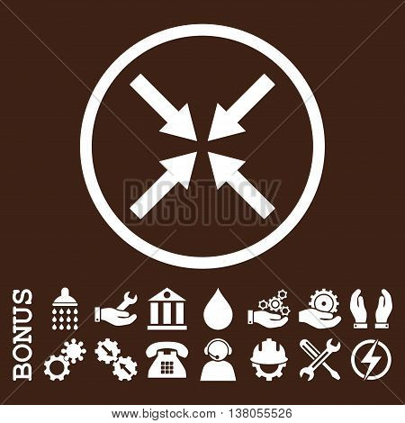 Center Arrows vector icon. Image style is a flat pictogram symbol inside a circle, white color, brown background. Bonus images are included.