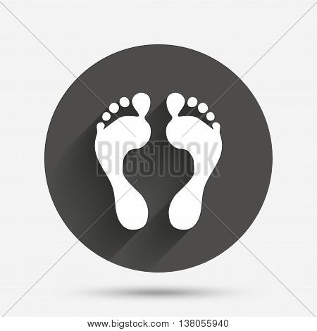Human footprint sign icon. Barefoot symbol. Foot silhouette. Circle flat button with shadow. Vector