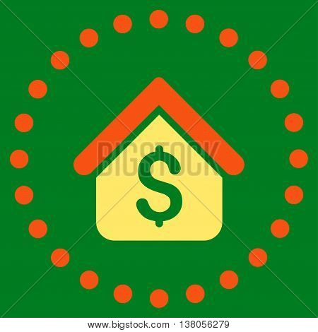 Loan Mortgage vector icon. Style is bicolor flat circled symbol, orange and yellow colors, rounded angles, green background.