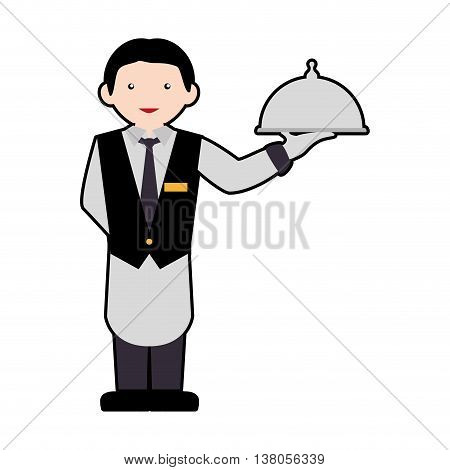 Hotel service concept represented by waiter icon. Isolated and flat illustration