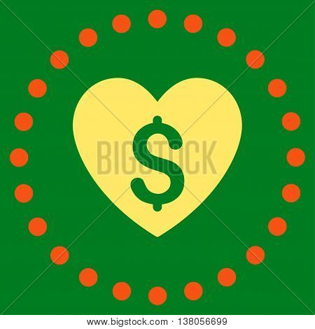 Paid Love vector icon. Style is bicolor flat circled symbol, orange and yellow colors, rounded angles, green background.