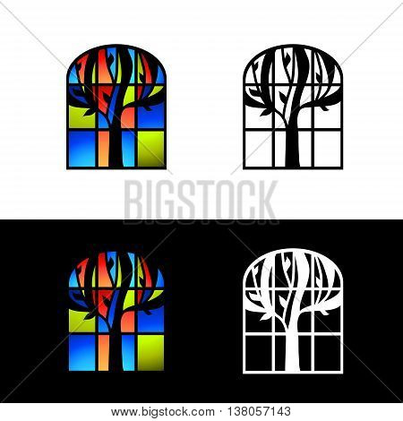 Illustration of the Multicolored Mosaic Glass Window Design Set