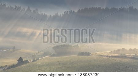 Sunlight rays shines through fog, mountain landscape