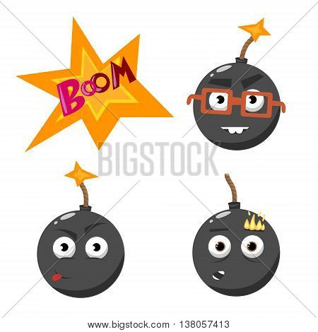 cartoon emotion gray bomb with fire set