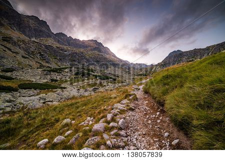 Hiking Trail in the Mountains in the Evening. Mlynicka Valley High Tatra Slovakia.