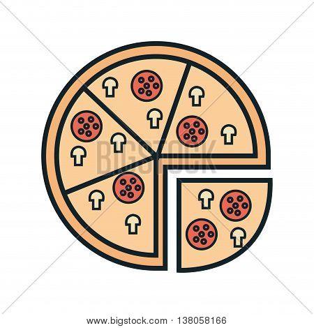 Delicious food italian pizza icon, gastronomy theme desifn vector illustration graphic.