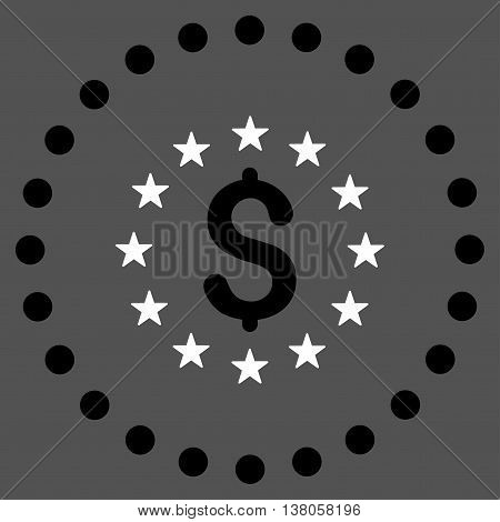 Dollar Stars vector icon. Style is bicolor flat circled symbol, black and white colors, rounded angles, gray background.